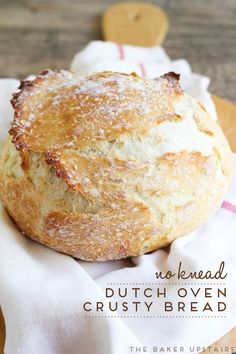 No knead dutch oven crusty bread - only 10 minutes of active time, and it is the easiest and most delicious bread you will ever make! www.thebakerupstairs.com