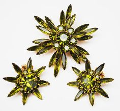 Judy Lee Flower Brooch and earring set  Olive green