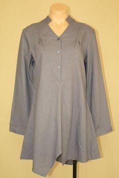 Pure Amici Minimalist Lagenlook Asymmetrical Blue Linen Rayon Tunic Top sz S M #PureAmici #Tunic