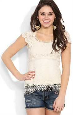 Short Sleeve Crochet Lace Top with Cap Sleeves and Tassle Hem
