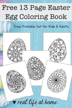 Easter Egg Coloring Pages for Kids and Adults (Free Printable Easter Egg Coloring Book) Looking for more intricate Easter Egg coloring pages? Enjoy this free printable coloring book filled with 13 Easter egg coloring pages for kids and adults. Easter Coloring Pages Printable, Easter Egg Coloring Pages, Easter Printables, Coloring Book Pages, Coloring Pages For Kids, Kids Coloring, Adult Coloring, Ostern Party, Easter Activities