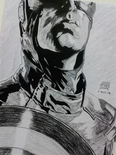 Captain America. Técnica: Carboncillo. 2014