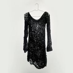 Women's sweater dress black Punk knit lace black long by Rannka