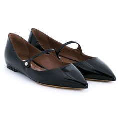 Tabitha Simmons Hermione Patent Leather Flats ($555) ❤ liked on Polyvore featuring shoes, flats, black, black patent leather shoes, pointy-toe flats, flat shoes, black shoes and pointed-toe flats