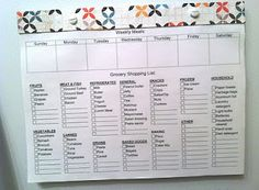 Meal planner and grocery shopping list. Includes template to print of (only use grocery list part, maybe change a few things around...)