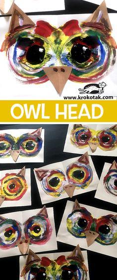fall art projects for kids Owl face art project for kids Fall Art Projects, Animal Art Projects, Projects For Kids, Art Club Projects, Kindergarten Art, Preschool Art, Owl Head, Atelier D Art, 2nd Grade Art
