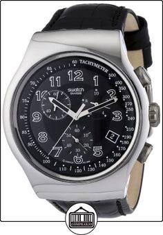 Swatch YOS440 - Reloj analógico de caballero de cuarzo con correa de piel negra (cronómetro) - sumergible a 30 metros de  ✿ Relojes para hombre - (Gama media/alta) ✿