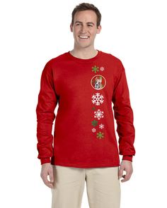 Staffordshire Bull Terrier Staffie Red Snowflakes Holiday Long Sleeve Red Unisex Tshirt Adult Small SC9752-LS-RED-S