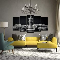 Kreative Arts - Black and White King and Knight of Chess Setup on Canvas Wall Art Paintings 5 Pieces Pictures Prints Poster Art Artworks for for Living Room Wall Decor (Large Size Knight Chess, Curved Walls, Wall Of Fame, Wall Sculptures, Canvas Wall Art, Living Room Decor, Art Paintings, Wall Decor, Paintings