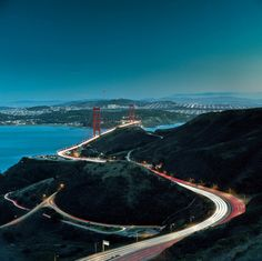 Approaching San Francisco, California from the north via Highway 101. Golden Gate Bridge in the distance, San Francisco beyond...