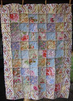 Shabby Chic Rag Quilt English Garden crib by SeasonOfTheStitch, $160.00