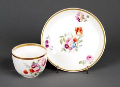 Swansea porcelain coffee cup and saucer  circa 1822
