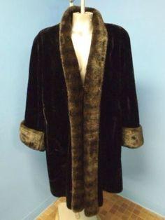 OLYMPIA BLACK PLUSH FAUX SHEARED MUSCRAT & MINK FAUX FUR Coat Jacket SZ M #Handmade #BasicCoat