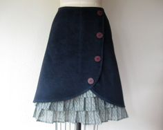 Blue Midnight ruffle front skirt Sz 14 by LoveToLoveYou on Etsy, $74.00