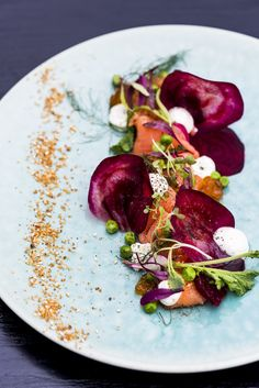 Dukkah Cured Salmon, Fresh Salmon, Beetroot, Peas, Garlic Emulsion