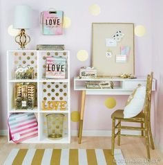 Switch that board to a mirror and it's a beautiful golden makeup station.