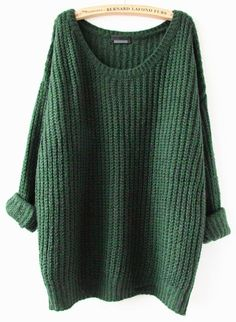 Green Plain Round Neck Casual Pullover Sweater