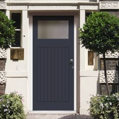 Made to order exterior door, lismore door - fitted with toughened double glazing, made to measure to your sizes. Garage Door Design, Wooden Door Design, Front Door Design, Grp Doors, White Garage Doors, External Wooden Doors, Victorian Front Doors, Victorian House, Timber Door