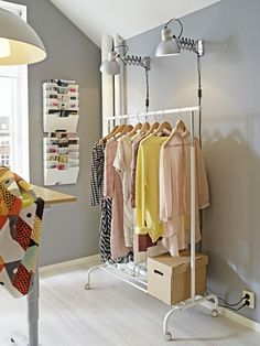 Ikea clothes rack ideas clothes rack white back to college closet bedroom and closet home decorations shop near me Clothes Rail Ikea, Hanging Clothes, My New Room, My Room, Hanging Wardrobe, College Closet, Ikea Shelves, Closet Bedroom, Shopping