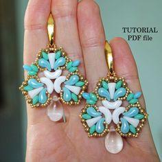 Beaded Earrings Patterns, Diy Earrings, Beading Patterns, Beaded Bracelets Tutorial, Earring Tutorial, Turquoise Earrings, Color 2, Swarovski Pearls, Unique Jewelry