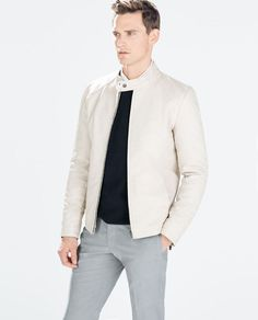 ZARA Man BNWT Ice Faux Leather Jacket Cream Off White Coat 0706/428 RRP £79.99