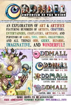 When and where will Oddmall be in Looking for a quick flyer to hand out at your booth or post on your website/social media? Head over here! Weird, Goodies, Artisan, Social Media, Entertaining, Website, Travel, Sweet Like Candy, Viajes