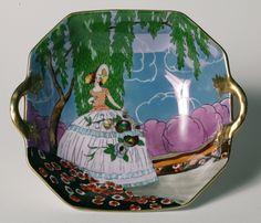 VERY RARE Vintage Art Deco NORITAKE BOWL - Lady Under Tree with Deco Flowers | eBay