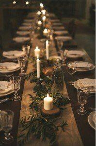 green garland white candles