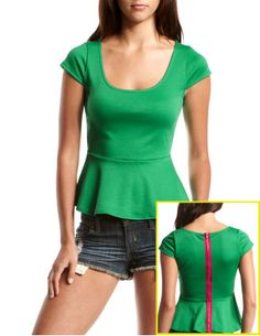 Zipper-Back Peplum Top
