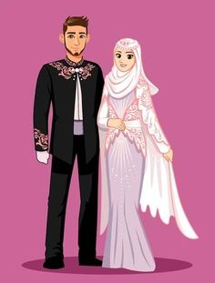 Pink purple islamic wedding – The Best Ideas Muslim Wedding Cards, Muslim Wedding Invitations, Muslim Brides, Muslim Couples, Wedding Couple Cartoon, Muslim Couple Photography, Muslimah Wedding, Islamic Cartoon, Anime Muslim