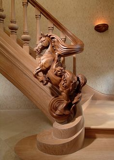 z- Sculpture d'Escalier - Carved Wood Horse Staircase Rail & 'Newel Post' Into The Woods, Banisters, Stair Railing, Hand Railing, Staircase Handrail, Western Decor, Western Style, Home And Deco, Wood Sculpture