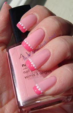 french mani with the added polka dot cuteness. #nails #manicure #pink