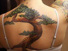 Bonsai tree tattoo with leaves