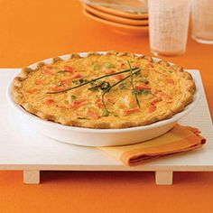 You only need four ingredients to make this decadent cheddar and vegetable #quiche. #brunch #breakfast #recipe