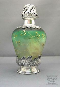 Daum Nancy, France c.1920's Cameo Green Glass Perfume Bottle