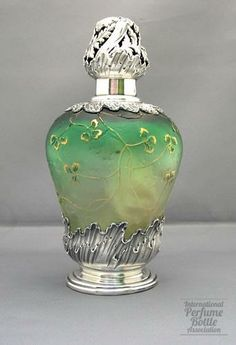 Daum Nancy, France c.1920's Cameo Green Glass Perfume Bottle