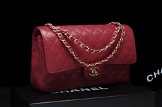 Medium flap (aka 1112 flap) in red caviar leather and gold chain