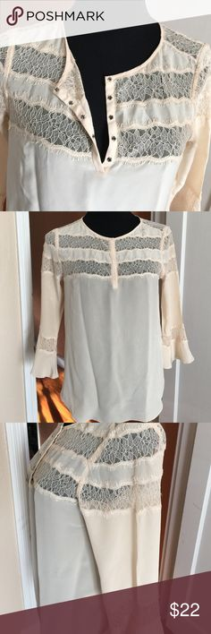"""Lace detailed top Lace detailing on top half front and back and also on flared sleeves. Chest 38"""", length 25"""", sleeves 18"""". Tried once. Never used. Rebecca Taylor Tops Blouses"""