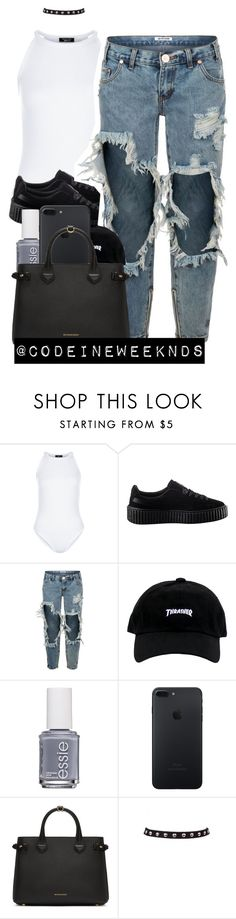 """9/25/16"" by codeineweeknds ❤ liked on Polyvore featuring New Look, Puma, OneTeaspoon, Essie and Burberry"