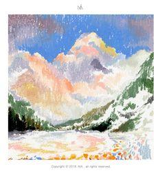"illustrator NIA ""oil pastel on paper"" Oil Pastel Paintings, Oil Pastel Art, Oil Pastel Drawings, Art Drawings, Horse Paintings, Pretty Art, Cute Art, Oil Pastel Landscape, Abstract Landscape"