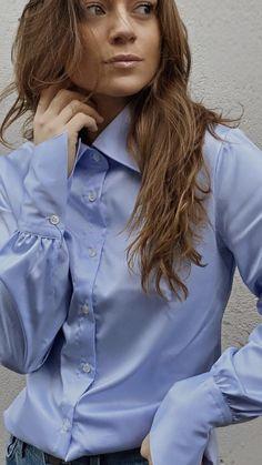 Woman Shirt, Satin Shirt, Collar Blouse, Shirt Blouses, Button Up, Girls Dresses, Bow, Lady, Womens Fashion