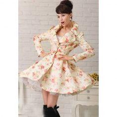 $33.99 Elegant Style Lapel Rose Jacquard Weave Big Hem Long Sleeve Cotton Coat For Women