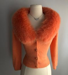 "Miss V on Instagram: ""A true head-turning piece, so rich and luxurious Vintage 1950's cardigan with huge fox collar and rhinestone buttons. The ultimate in…"" Vintage Sweaters, Turning, Fur Coat, Fox, Buttons, Luxury, Jackets, Instagram, Fashion"