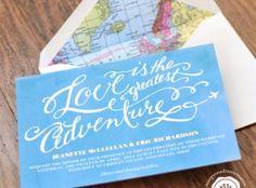 Travel Theme Calligraphy Wedding Invitation