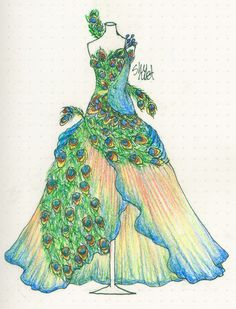 :Day Peacock Dress by Shyriet on DeviantArt Peacock Drawing, Peacock Art, Peacock Theme, Peacock Design, Peacock Costume, Peacock Dress, Feather Dress, Fashion Illustration Sketches, Fashion Sketches
