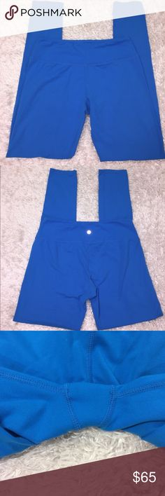 """Lululemon Electric Blue Leggings Size 10, in excellent condition! Only sign of wear is on logo. Inseam: 31"""". Rise: 8 1/2"""". Waist: 14"""". Feel free to ask any questions! No trades sorry, no model pictures, and offers thru offer button only! I ship same day M-F if purchased before 4pm PST. 😊x.. lululemon athletica Pants Leggings"""