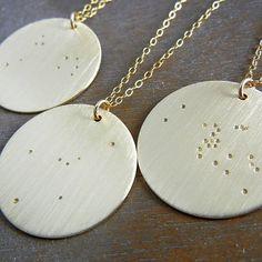 Gold Constellation Necklace Zodiac Sign by eriadesignsjewelry