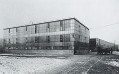 """German Post-War ModernProduction Facility of the company """"Steiff"""" in Giengen a. The design was developed internally by Richard Steiff and is an early precursor of later curtain-wall facades. Industrial, Design Department, Brutalist, Modern, Architecture Design, Germany, Louvre, Inspiration, Building"""