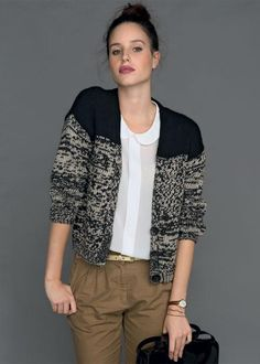 Giacca Donna College Giacca Con Pizzo häkel punta GILET CARDIGAN
