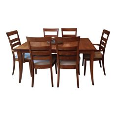This is a beautiful solid maple dining room table set with six chairs side chairs and 2 arm chairs). It comes with 2 leaves and can extend to fit 10 comfortably. Table And Chair Sets, Dining Table Chairs, Table Furniture, Dining Set, Side Chairs, Cherry Hardwood Flooring, Rectangle Table, Leaf Table, Table Settings
